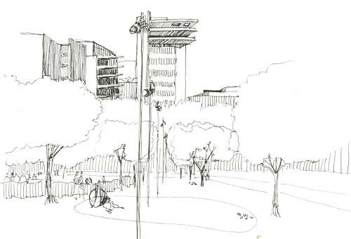 Towers around Jamison Square