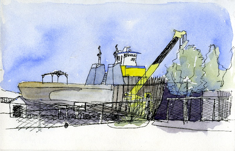 watercolor painting of a tugboat under construction
