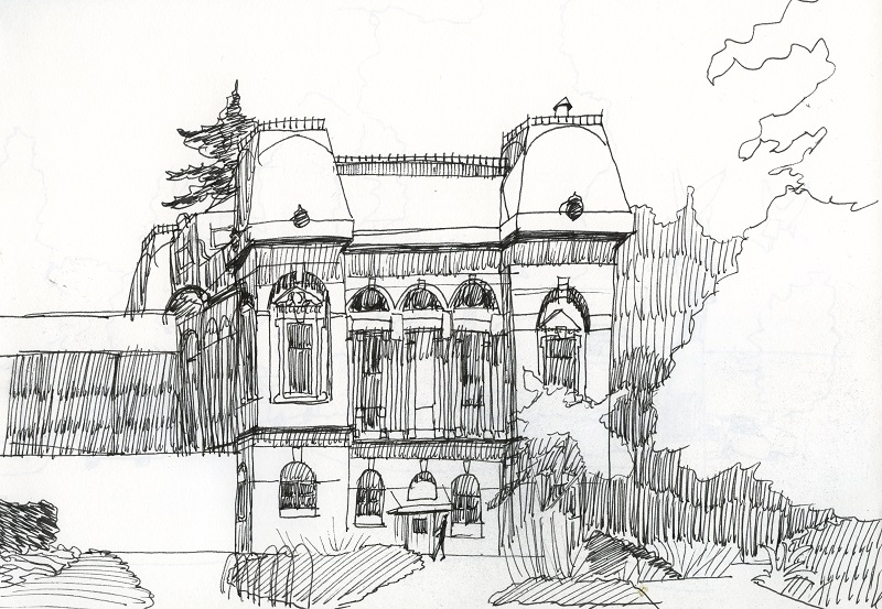 Drawing of the south side of Villard Hall