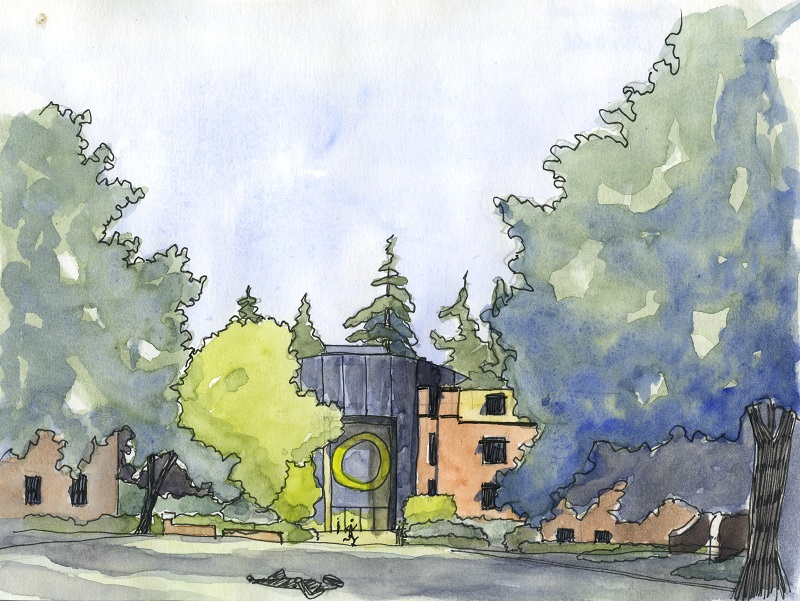 watercolor painting of the University of Oregon main mall