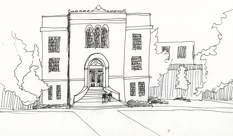 drawing of main entrance to Chapman Hall