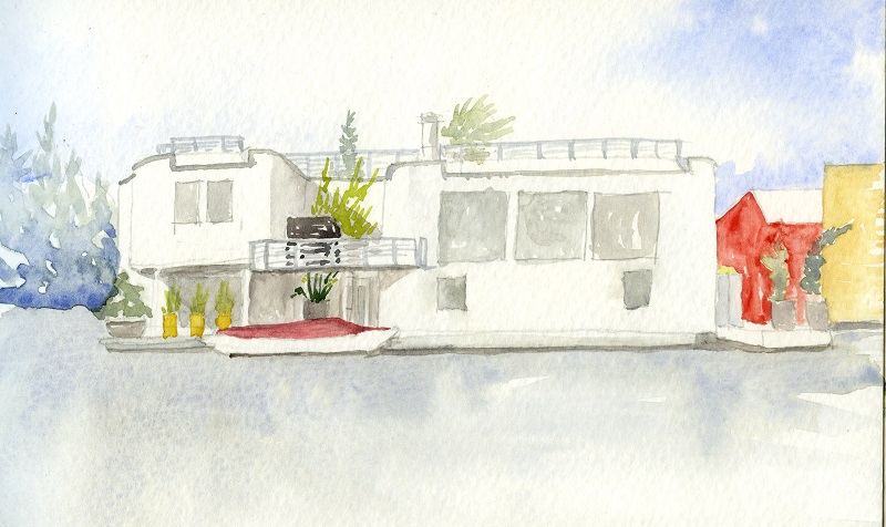 Watercolor of houseboat on Lake Union