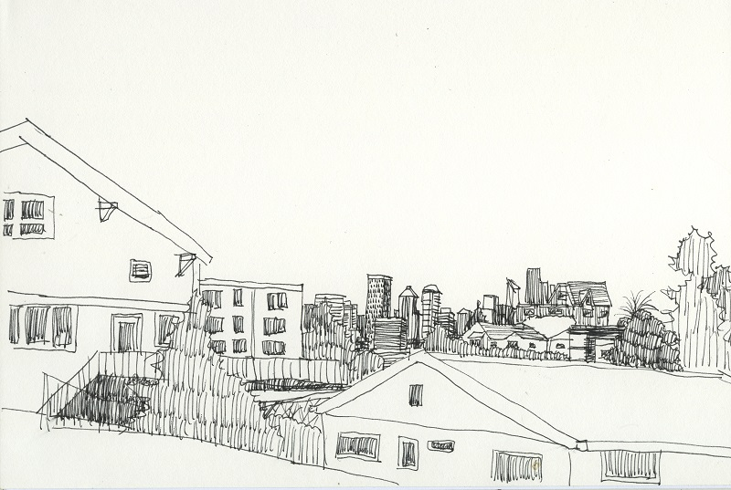Drawing of the Seattle skyline