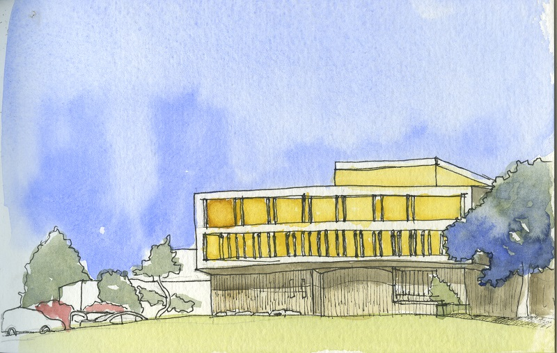 ubc music hall watercolor